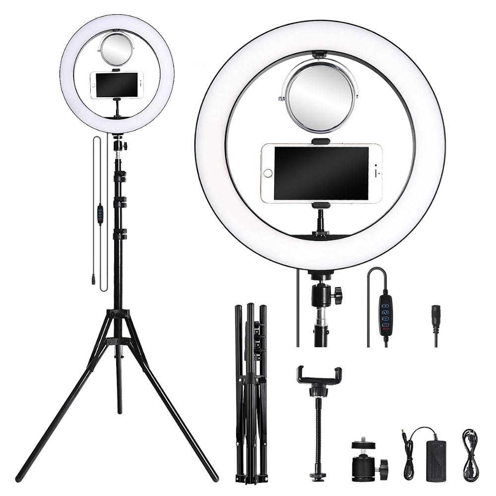 Photography Youtube LED Selfie Cold Warm Lighting Dimmable 14inch LED Ring Light Phone Video Light Lamp Tripod Ring Fill Light