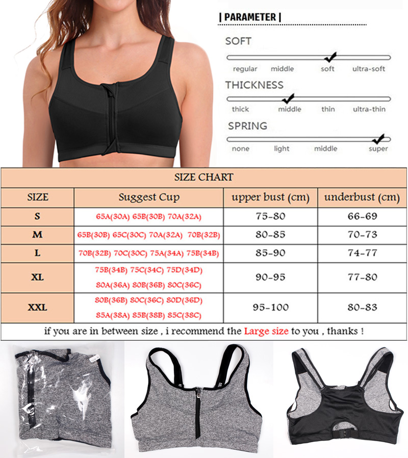 SEXYWG Hot Women Zipper Push Up Sports Bras Vest Underwear Shockproof Breathable Gym Fitness Athletic Running