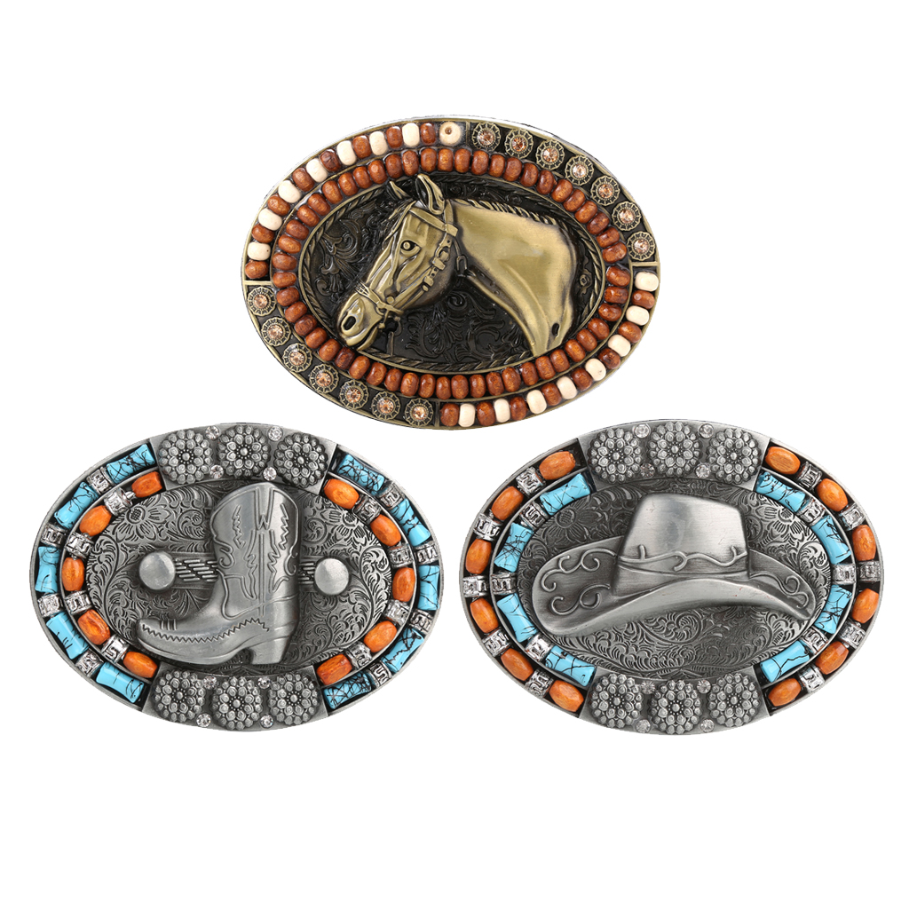 Classic Belt Buckle Western Cowboy Totem Beads Hunting Jeans Belt Accessories Belt Replacement Buckle