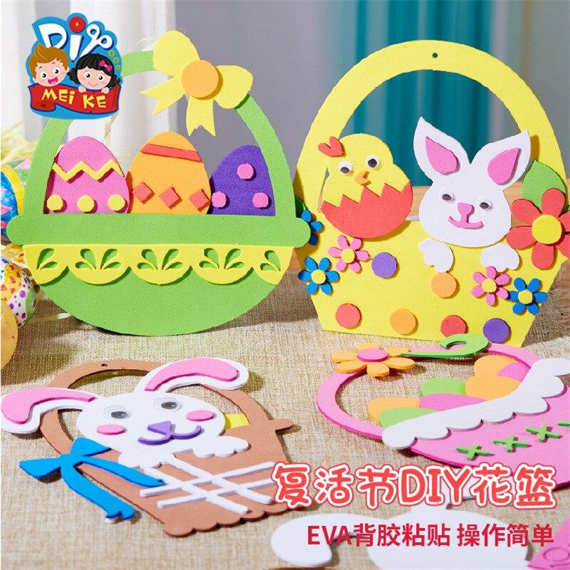 Пасхальная корзина для цветов ручной работы, поделки для детей, креативный материал, упаковка, пазл для родителей и детей, детские игрушки «...