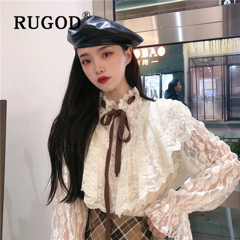 RUGOD Spring Elegant Lace Blouse Women Blouses Long Sleeve Sheer Top Korean Fashion Clothing Woman Shirts Belle Sleeve Kawaii