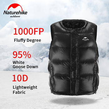 Naturehike Outdoors 95%White Goose Down Vest Ultralight Vest 1000+FP Keep Warm Vest Unisex Riding Camping Vest Winter Travel фото