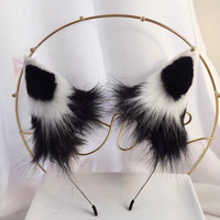 MMGG New Black White Wolf Fox Ears Hairhoop Headwear Lolita Cosplay Game Costume Accessories Custom Made