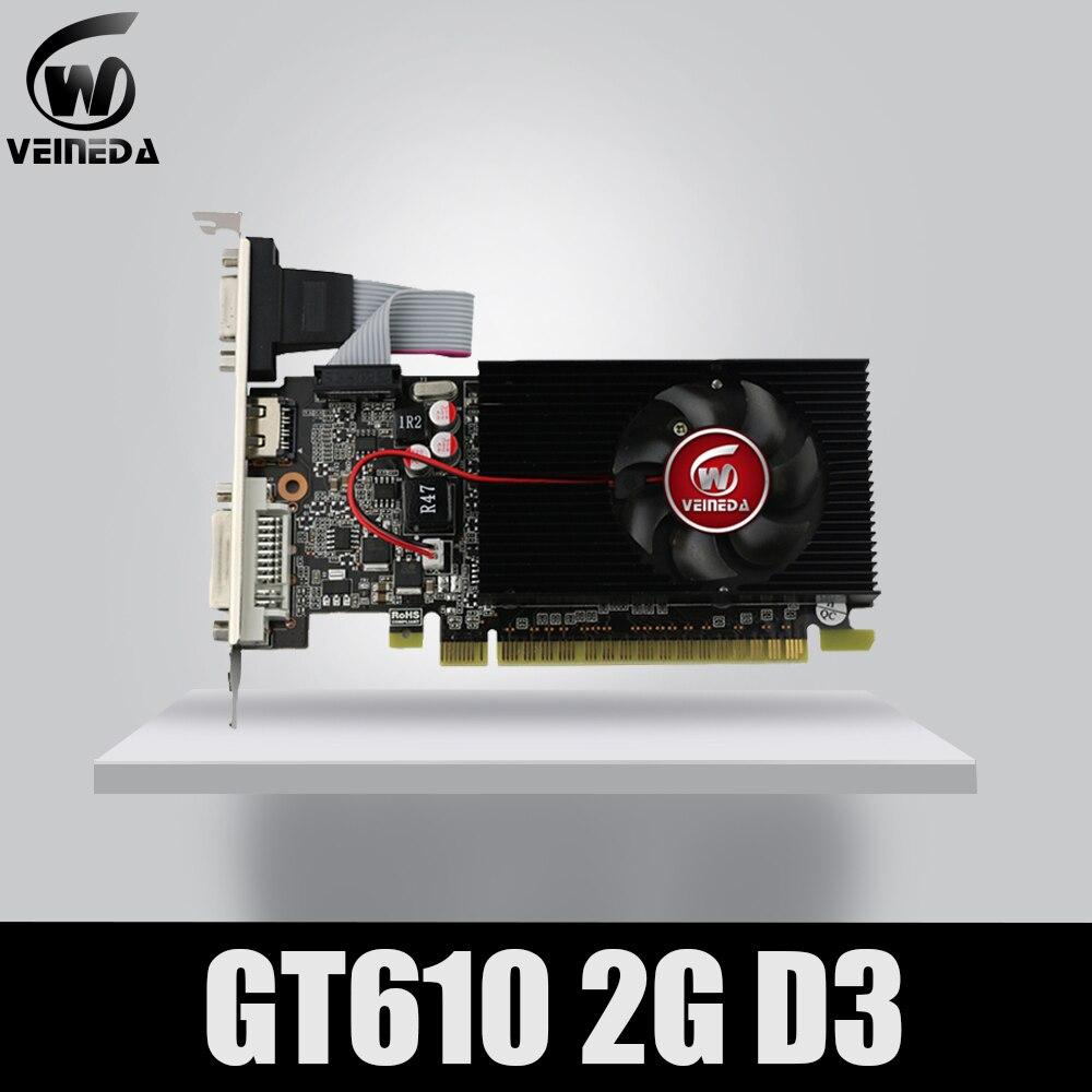 Veineda affichage vga cartes GT610 2GB DDR3 700/1000MHz pour nVIDIA Geforce jeu PC