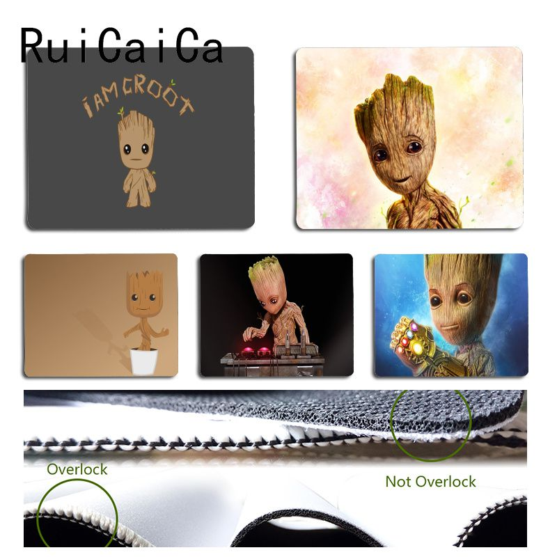 RuiCaiCa  New Arrivals Cute Cool Groot Customized Laptop Gaming Mouse Pad Size For 18x22cm 25x29cm Small Mousepad