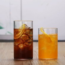 Cylindrical Coffee Cup Juice Tea Heat-Resistant Glass Transparent Water Cup High Temperature Creative Gift embossed peach heart glass japanese cherry petal water cup loving milk water cup fruit juice cold drink transparent coffee cup