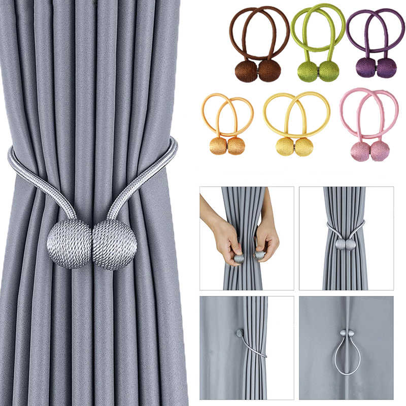 2pcs magnetic curtain tieback room accessories pearl ball curtain cilp home decor arbitrary shape strong curtain holder rope