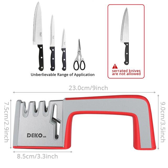 DEKO 4 In 1 Stainless Steel Scissors Tools Diamond Sharpening Whetstone Stone Non-Slip Knife Sharpener 3