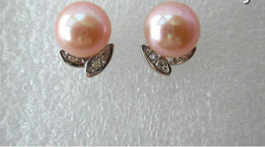 1017+++stunning big 10mm round pink freshwater cultured pearl earrings stud