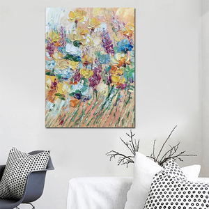 Image 3 - Free shipping cheap 100% Hand painted modern home decor wall art picture many flowers thick palette knife oil painting on canvas