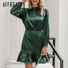 Affogatoo Elegant ruffle lace satin dress women Vintage Long