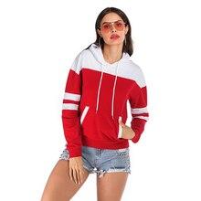 Casual Minimalist Style Hoodies Women Hooded Full Sleeve Striped Pockets Cotton Warm Pullover Ladies Red Sweatshirt Femme 2019