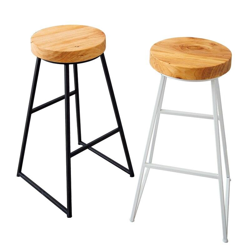 Bar Chair Modern European Solid Wood Home Chair Wrought Iron Bar Chair Creative Simple Coffee Shop High Stool Bar Stool Chair