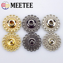 Meetee 10sets Scrapbooking Decor Metal Buttons Snap Stud Fastener Hollow Press Buckles for Sewing Jacket Coat Clothes Craft D4-1