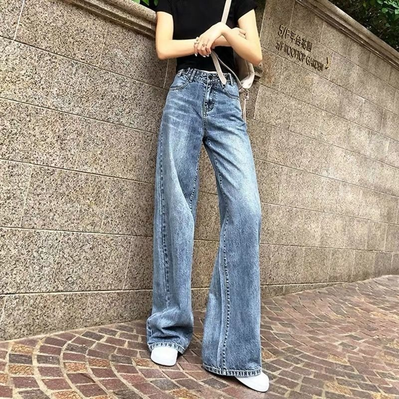 Jeans Women loose-legged Pants Korean version of the latest retro mopping high-waisted Pants Women Slim straight pants women