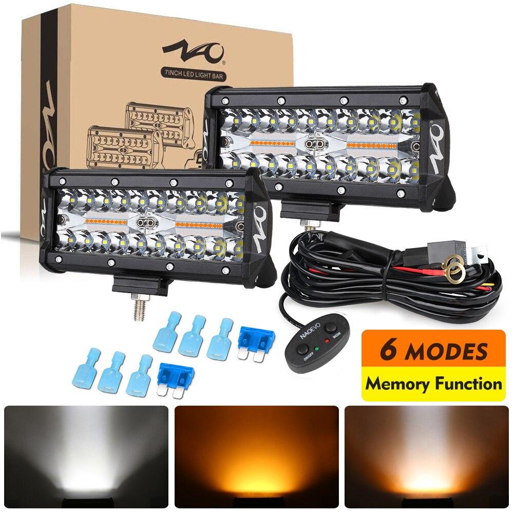NAOEVO Led Light Bar 12v 24v Strobe 2 Color 6 Mode Spot Flood Fog LED Work Lamp For Auto Car Truck ATV 4x4 Off Road Accessories
