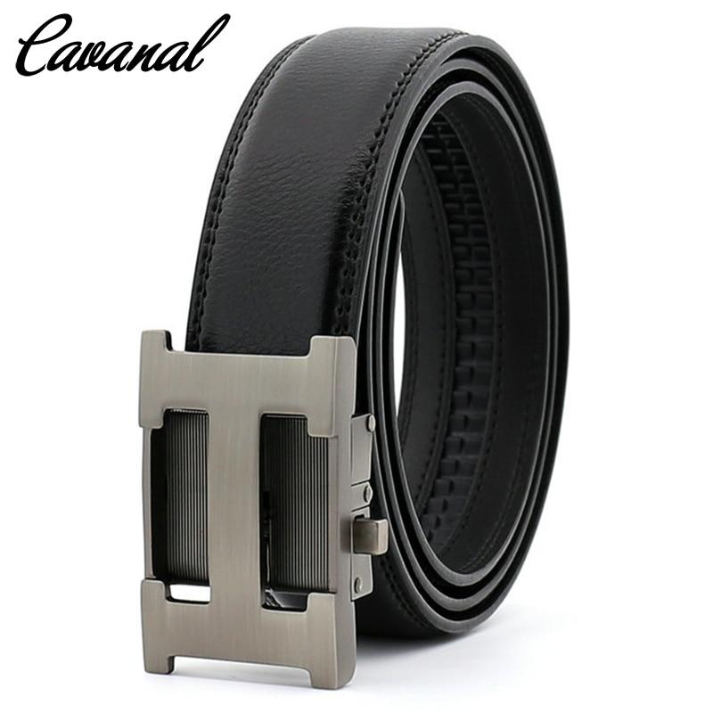 Genuine Leather Men Belt Metal Automatic Buckle Black Male Belt Business Ratchet Belt H Letter Cinto Masculino 2020