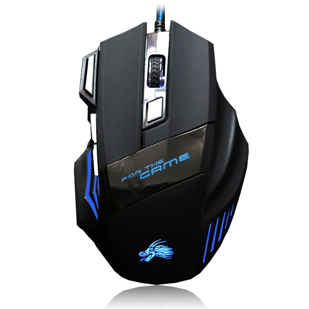 USB 6 Buttons Gaming Mouse <font><b>5000DPI</b></font> LED Optical USB Wired Gamer Mouse 7 Buttons Gamer Computer Mice For Laptop Mice PC image