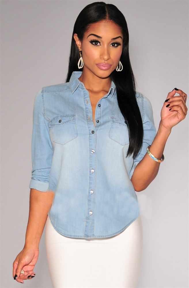 Nowe damskie niebieskie w stylu retro Jean miękkie Denim z długim rękawem koszula na co dzień bluzki bluzka S-XL