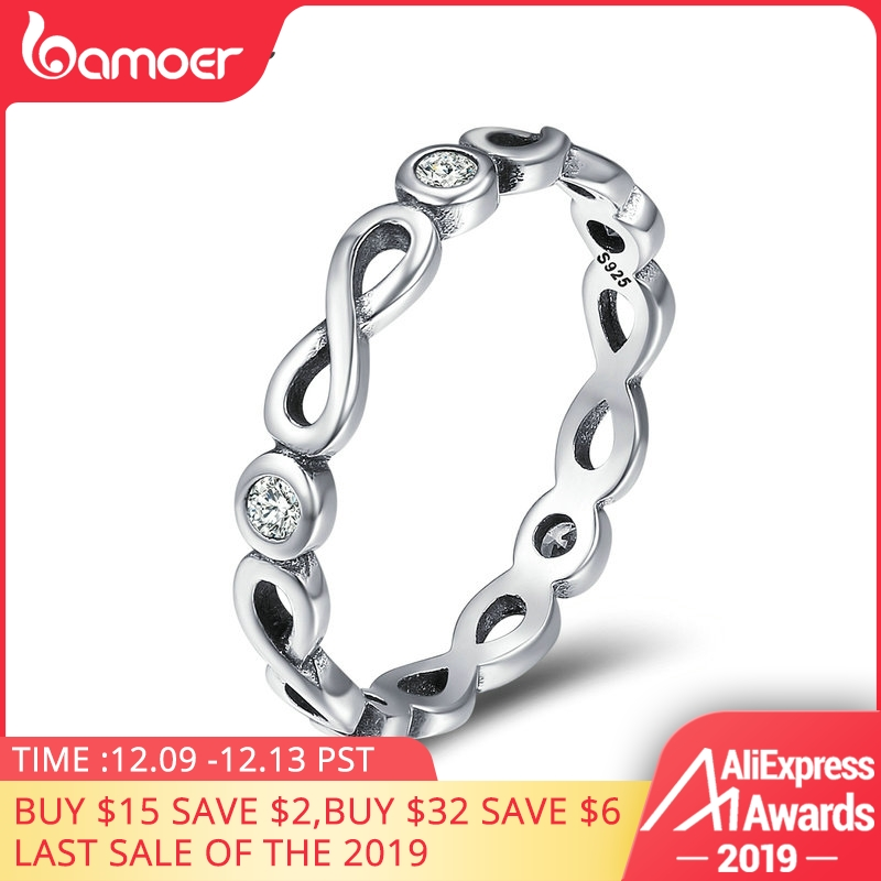 BAMOER Authentic 100% 925 Sterling Silver Infinity Blessings Endless Love Finger Rings For Women Sterling Silver Jewelry SCR181