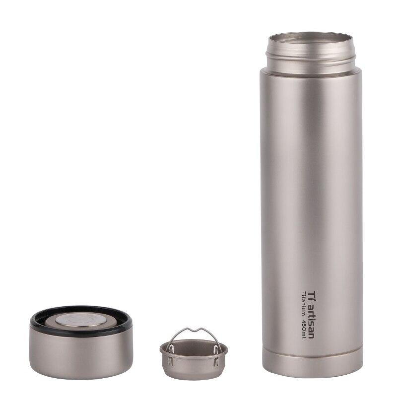 Tiartisan чистый titanium портативная чашка для воды 450 мл кружка для чая кофе чайник бутылка для напитков с двойными стенками Вакуумная бутылка спо... - 2