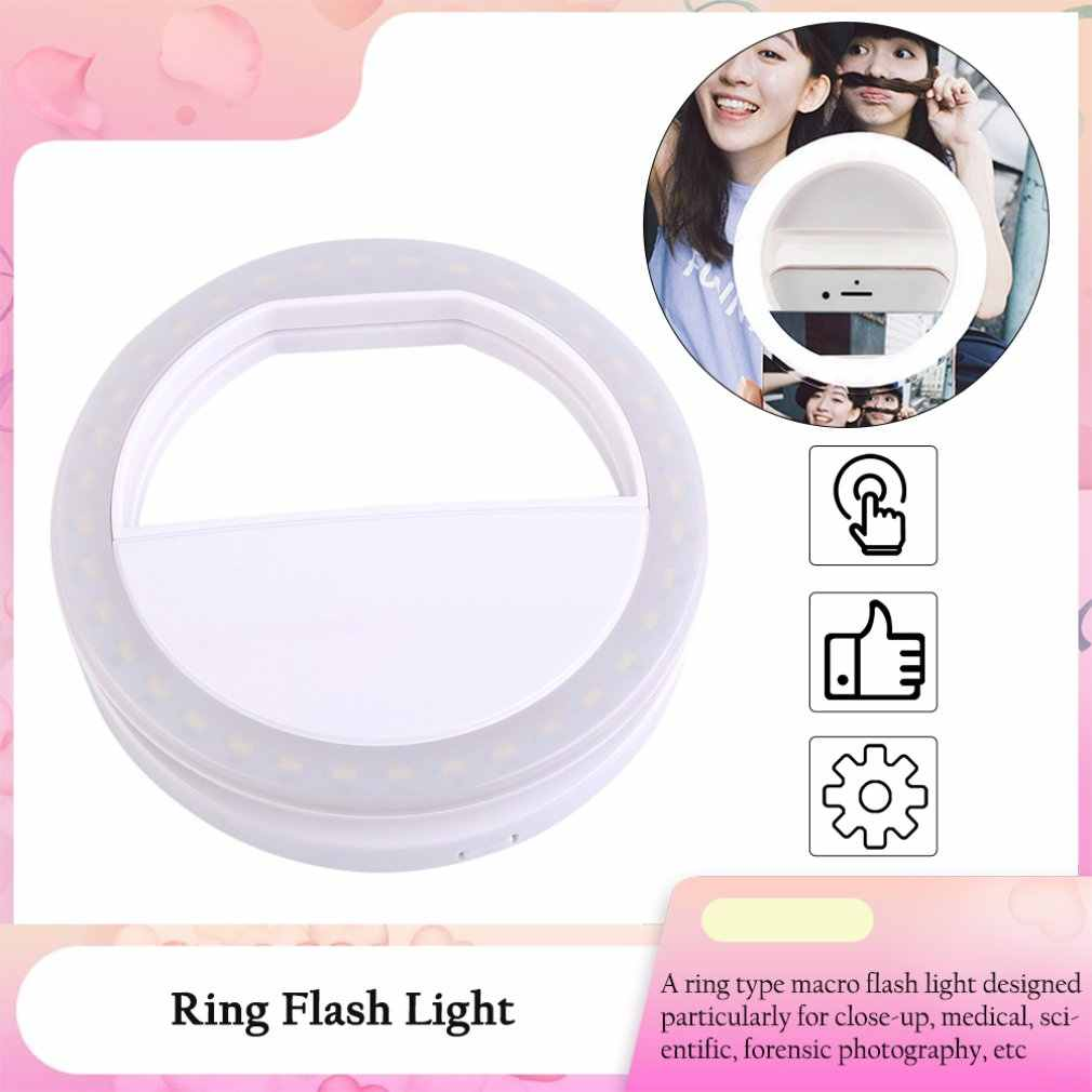 LED Selfie Ring Camera Licht Draagbare Universele Telefoon Lens Voor iPhone X Nokia Ronde Lamp Flash Camera Fotografie Enhancing