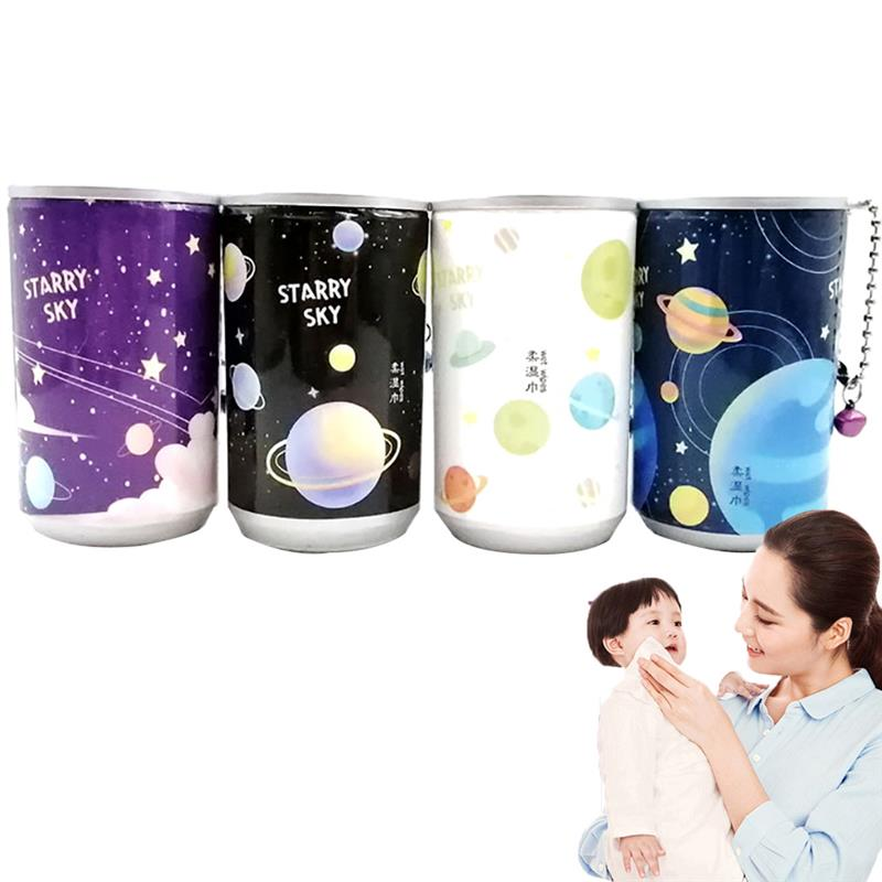 30 Pcs Wet Wipes Cartoon Canned Paper Portable Bucket Wipes Disposable Baby Skin Cleanser Sterilization