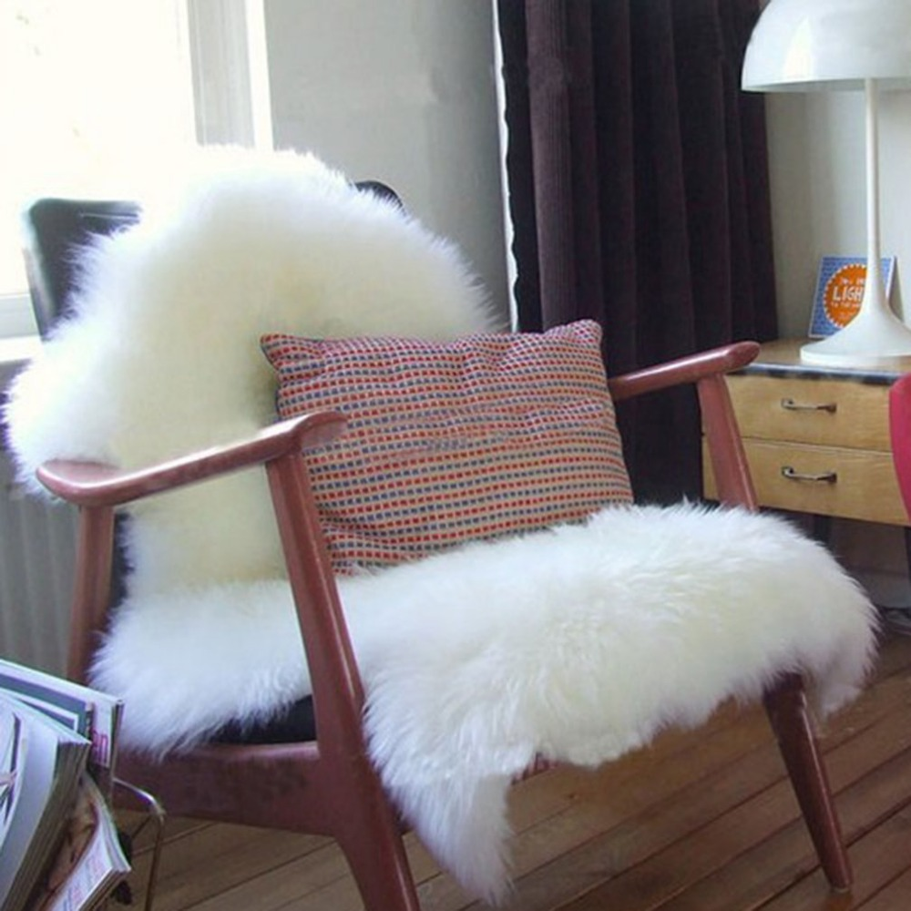 Faux Sheepskin Floor Carpet Chair Cover Warm Hairy Seat Pad Plain Skin Fur Plain Fluffy Area Rugs Bedroom Mat For Living Room