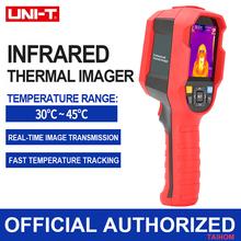 Cyfrowa kamera termowizyjna ręczny 30 ℃ ~ 45 ℃ pomiar temperatury ludzkiego ciała wyświetlacz LED termometr na podczerwień 30000 pikseli tanie tanio UNI-T CN (pochodzenie) Internal 2 0-3 9 Cali Hand-Held Live Display Frame frequency 9Hz