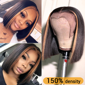 150% 13x6 Lace Front Human Hair Wigs For Women #27 Highlight Wig Brazilian Remy Honey Blonde Ombre Short Bob Lace Front Wigs(China)