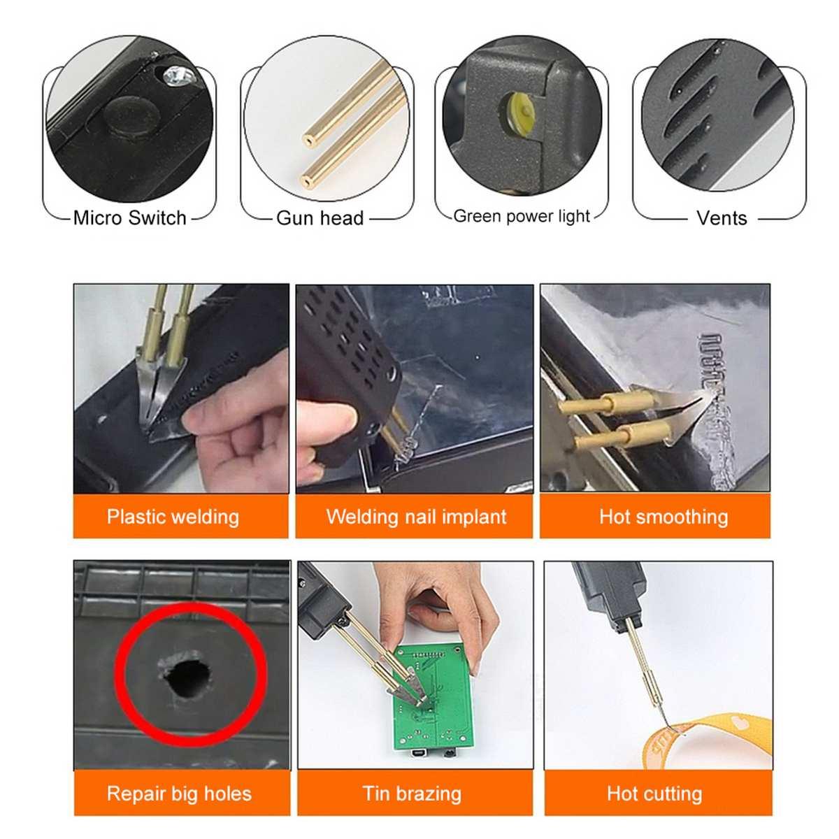 Tools : 220V Hot Stapler Car Bumper Repair Fender Fairing Welder Plastic Repair Kit Portable Automotive Plastic Repair Tools