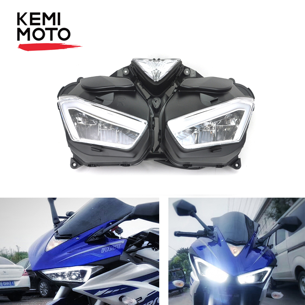 KEMiMOTO Headlight For YAMAHA YZF R25 R3 Front Head Light Housing YZF-R25 YZF-R3 2013 2014 2015 2016 2017 Motorcycle Accessories