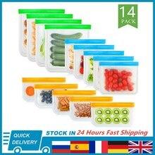 Силиконовый Пакет для продуктов 14 шт./компл., многоразовый пакет для сохранения свежести фруктов и овощей, герметичный пакет, герметичный па...