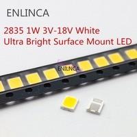 100 Uds SMD LED 2835 Chips 1W 3V 6V 9V 18V de luz Ware frío blanco natural 1W 130LM montaje superficial en PCB diodo emisor de luz