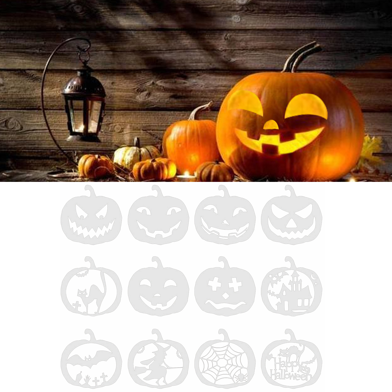 12PCS Reusable Pumpkin Decorative Carving Stencils Template Set For Kids Adults Engraver Artist Halloween Theme Party Supplies