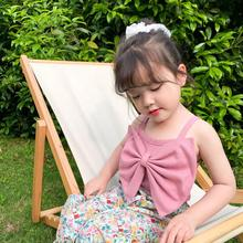 2020 Summer Pure Color Big Bowknots Baby Girls Camisoles Korean Style Kids Sling Tops Children Clothes Cute Tees