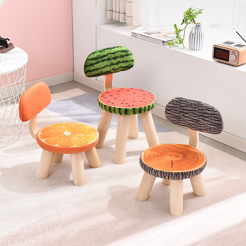 Sillon Niños Child Adult Cloth Art Solid Wood Backrest Small Stool Fruit Creative Household Living Room Shoe Round Bench Chair