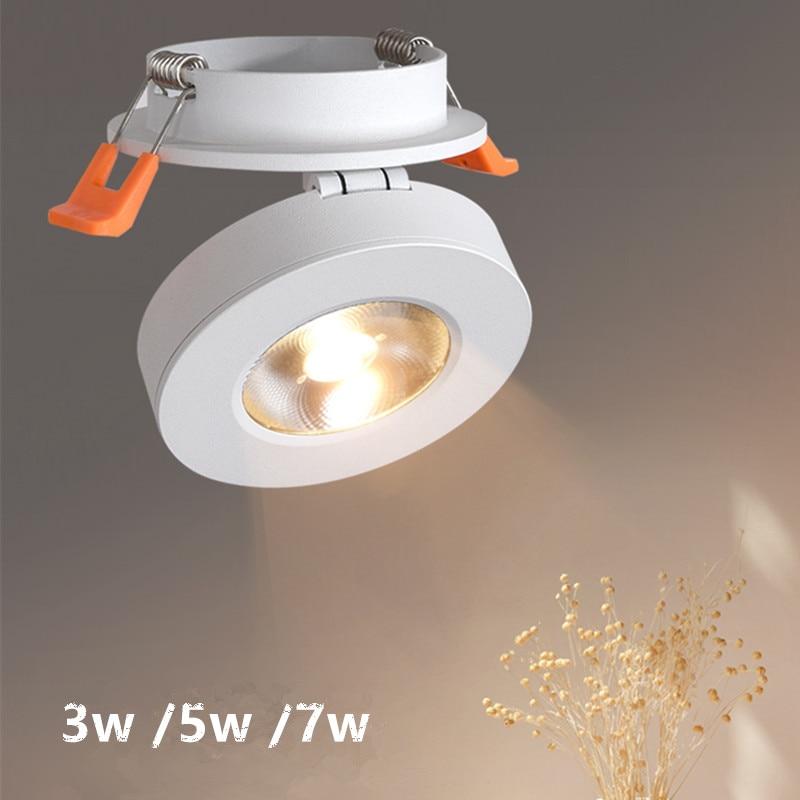 220V 3 W/5 W/7 W schlanke LED embedded decke unten lampe Faltbare und 360 grad drehbare gebaut in COB Spot licht Einbau-downlight