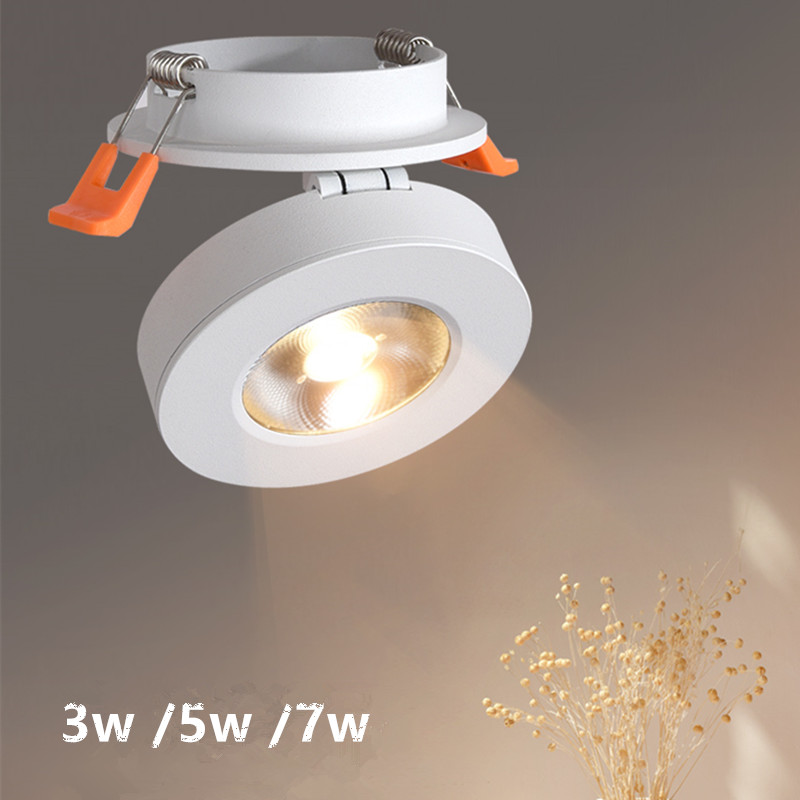 Dimmable 3W 5W 7W slimLED embedded ceiling down lamp Foldable and 360degree rotatable built in COB Spot light Recessed Downlight