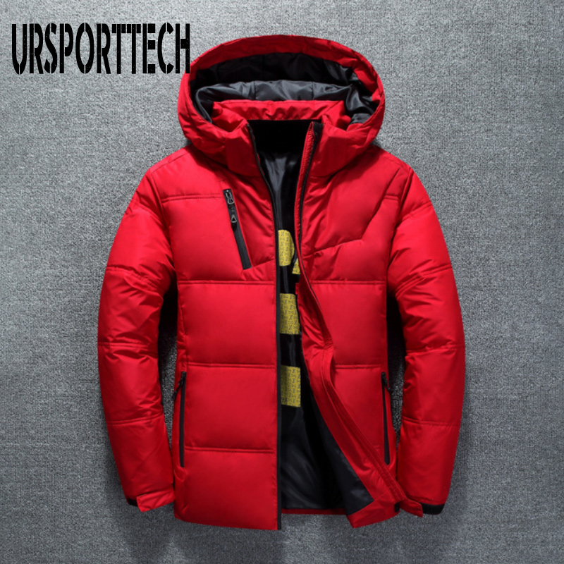 URSPORTTECH High Quality White Duck Thick   Down   Jacket Men   Coat   Snow Parkas Male Warm Brand Clothing Winter   Down   Jacket Outerwear