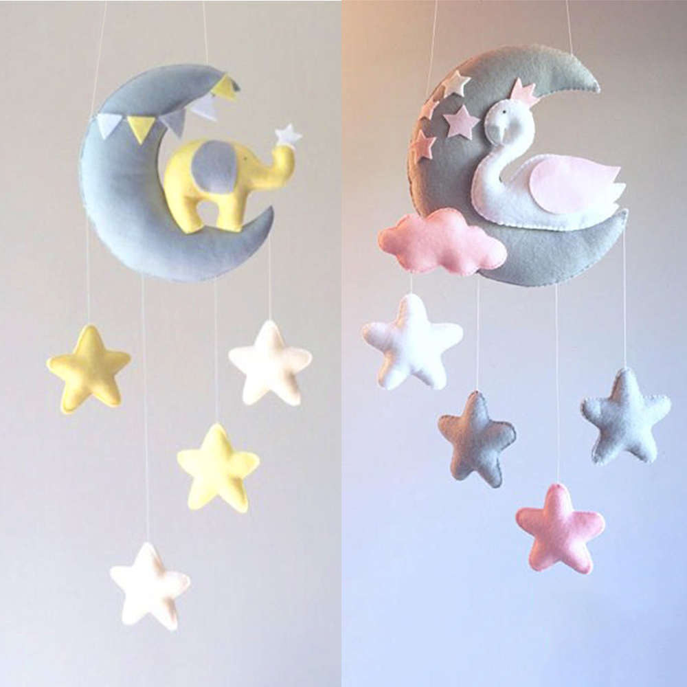 Baby Rattles Moon Swan DIY Mom Handmade Bed Bell Toy Rotating Crib Mobiles Holder Bed Wind-up Musical Box Animal Rattle Material