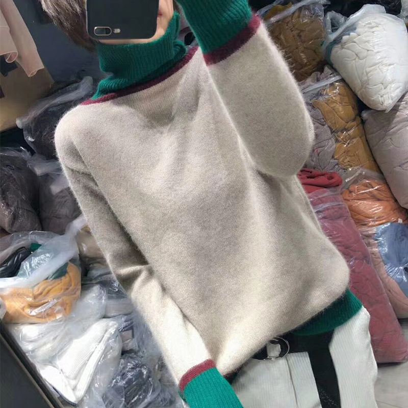 2019Turtleneck Turn-down Collar High Quality Pure Cashmere High Collar Sweater Pullover Solid Color Women's Basic Sweater Slim F