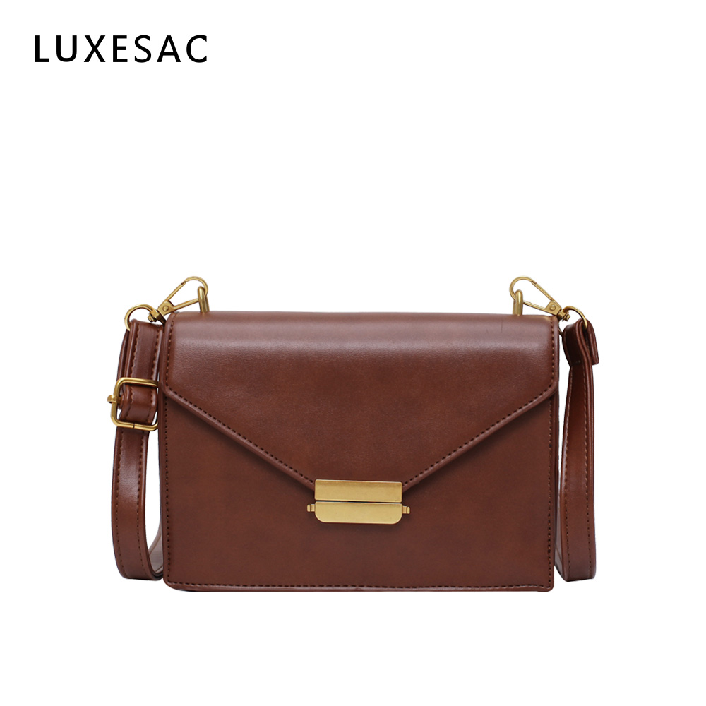Vintage Small Square Luxury Bags Women Handbags Designer Sac A Main Brown Leather Ladies Cross Body Messenger Bag Women Bolsa