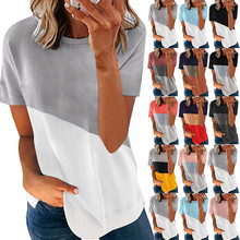 2021 European and American women's summer new hot style hit color printing round neck short-sleeved shirt T-shirt women