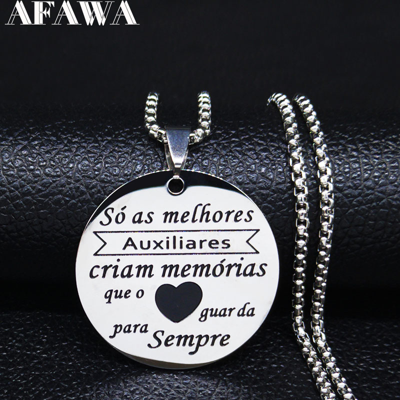Best Friend Love Portuguese Stainless Steel Necklace for Women Silver Color Necklaces pendants Jewelry colares feminino N20153 image
