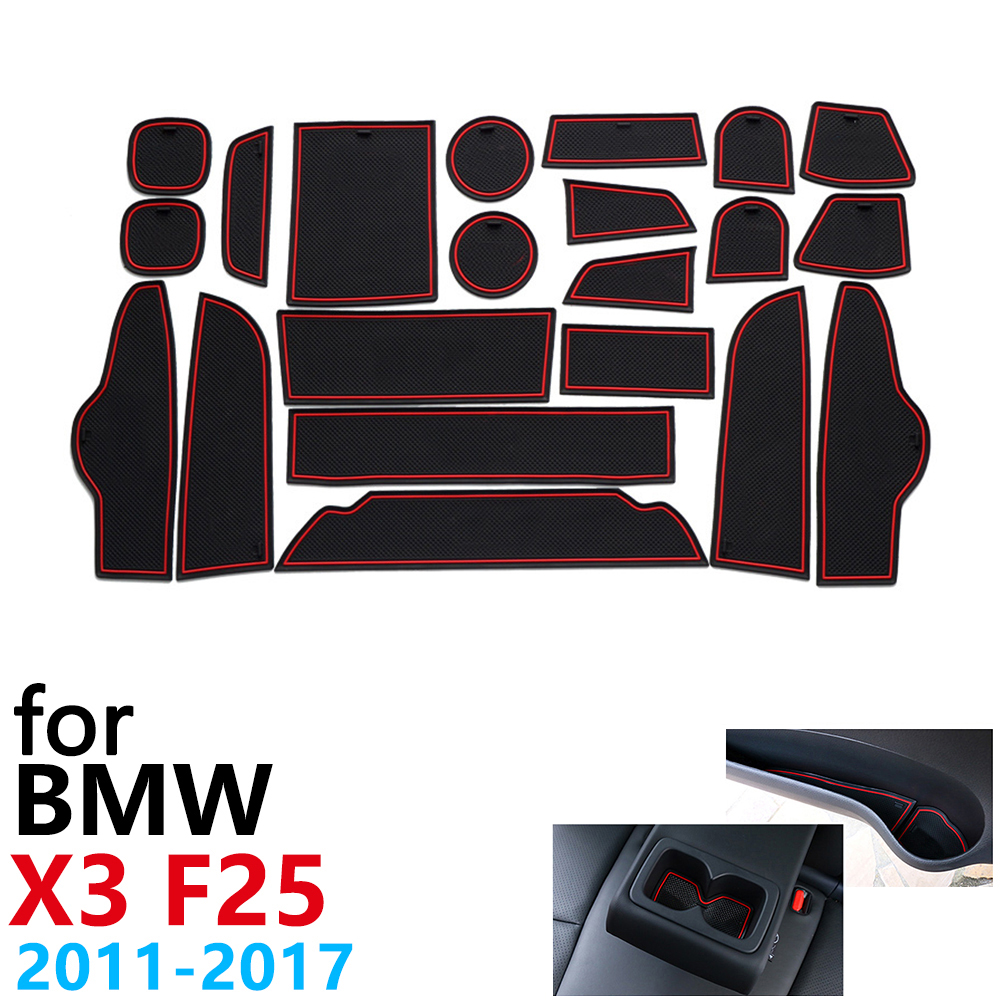 Anti-Slip Rubber Cup Cushion Door Groove Mat for <font><b>BMW</b></font> <font><b>X3</b></font> F25 2011~<font><b>2017</b></font> <font><b>Accessories</b></font> Car Stickers mat for phone 2012 2013 2014 2016 image