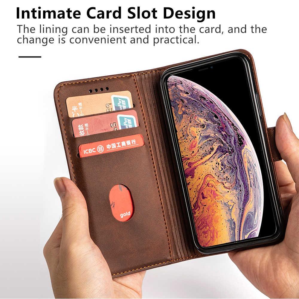 Wallet Case Voor Iphone 11 6.1 2019 Kaarthouder Slot Cover Voor Iphone 11 Pro 5.8 11 Pro Max 6.5 Zakelijke Lederen beschermende Huid