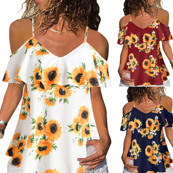 Floral Printed Women Blouses And Tops Summer Ruffle Short Sleeve Ladies Shirt Fashion Casual V Neck Female D30