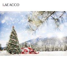 Laeacco фотография рождественской елки фоны снежные горы сцена