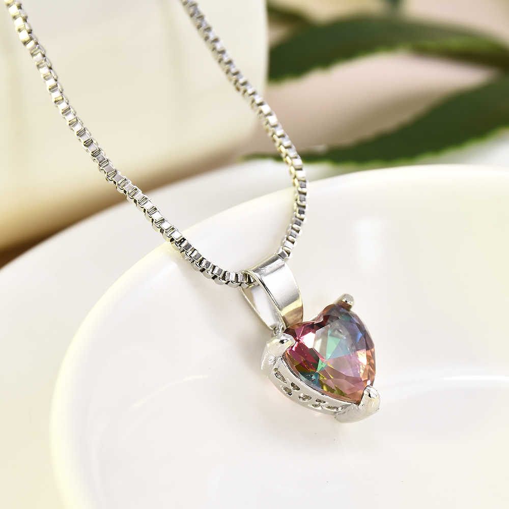 New Fashion Mystic Silver Necklace Gift Jewelry Rainbow Chain Heart Pendant Birthday Gifts Envios Gratis Tiny Necklace For Women